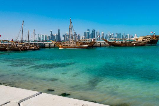 Doha Skyline with dhaus