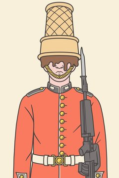 Illustration of a Queen's guard with a ice cream instead of his hat.