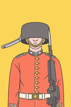 Illustration of a Queen's guard with a pan instead of his hat.