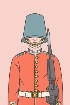 Illustration of a Queen's guard with a bucket instead of his hat.
