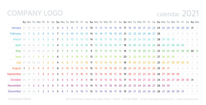 Calendar linear, 2021 year. Vector. Yearly calender planner. Schedule template with months. Week starts Sunday. Horizontal, landscape orientation, english. Agenda organizer. Simple color illustration.