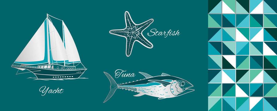 Sea Objects Set: yacht, starfish, tuna. Vector Illustration.