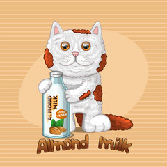 Cat and glass bottle with almond milk. Vector illustration