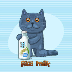 Cat and glass bottle with rice milk. Vector illustration
