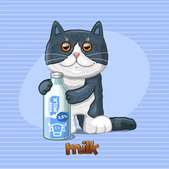 Cat and glass bottle with natural milk. Vector illustration