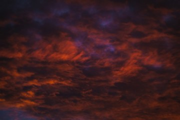 Amazing low angle shot of a cloudy sky under a sunset light