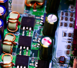Macro kawałek płyty głównej komputera. - fototapety na wymiar