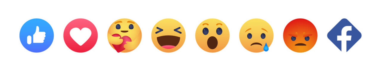 Facebook emoticon buttons. Collection of Emoji Reactions for Social Network. Kyiv, Ukraine - May 10, 2020