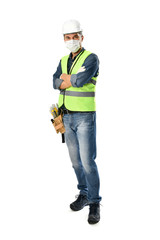 Manual Worker wearing Face Mask and Protective Gloves
