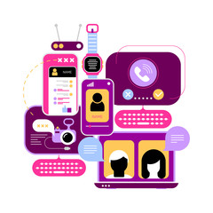 Colored design isolated on a white background Online Chatting vector illustration. Computer monitors and smartphone screens with chat messages, video conference and video calling.