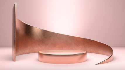 Round golden stage, podium or pedestal in pink background. Perfect background for presenting, branding or identity of your product or company. Place object or product on podium. 3d illustration