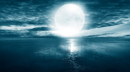 Zelfklevend Fotobehang Groen blauw Night seascape. Dark landscape with a marine background and sunset, moon. Abstract night landscape in blue light. Reflection of the moon in the night water. Empty futuristic landscape.