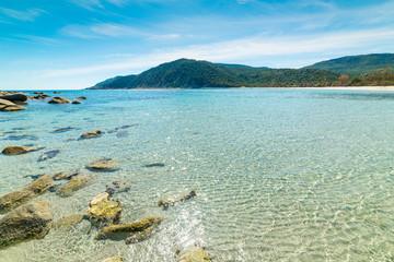 Blue sea and rocks in Cala Pira