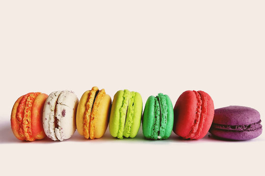 Close-up Of Macrons Against White Background