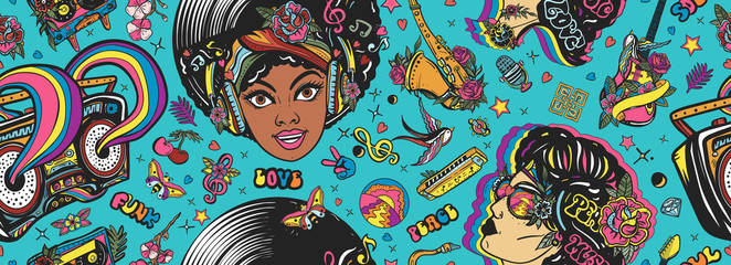 Funk and soul music. Seamless pattern. Lifestyle musical background. African American funky woman. Fashion hippie girl, audio type, saxophone, guitar and rainbow boom box. Old school tattoo style Fotomurales