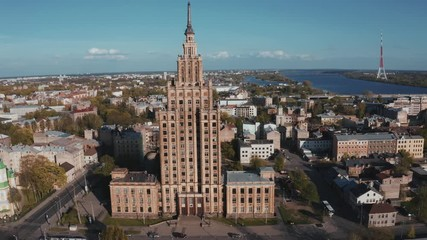 Fotomurales - Aerial close up view of the Latvian academy of sciences in Riga, Latvia. It was built between 1953 and 1956 dominates the skyline standing at 108m tall. Soft selective focus
