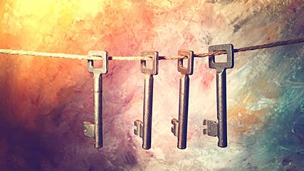 Close-up Of Of Four Old Keys