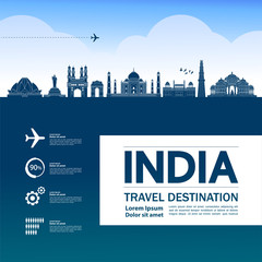 Fotomurales - India travel destination grand vector illustration.