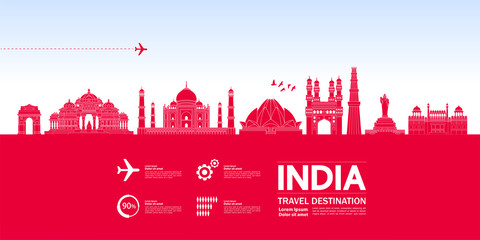 Fototapete - India travel destination grand vector illustration.