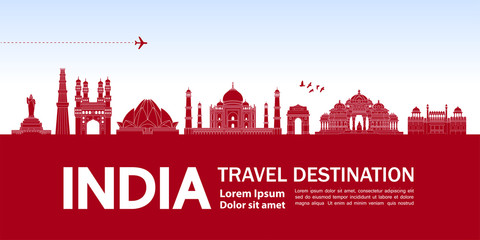 Fotomurales - India travel destination grand vector illustration.