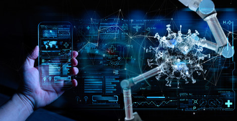 Medicine doctor sciene hand with Ai robotics research and analysis. Diagnose checking coronavirus...