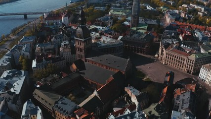 Fotomurales - Riga, Latvia. Riga Cityscape In Sunny Summer Day. Famous Landmark - Riga Dome Cathedral aerial panoramic view