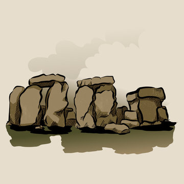 Cartoon Color Stonehenge Landscape Scene Concept. Vector
