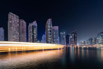 Fototapete - Dubai Marina in evening