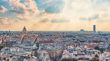 Wall Mural - Paris city panorama at sunset