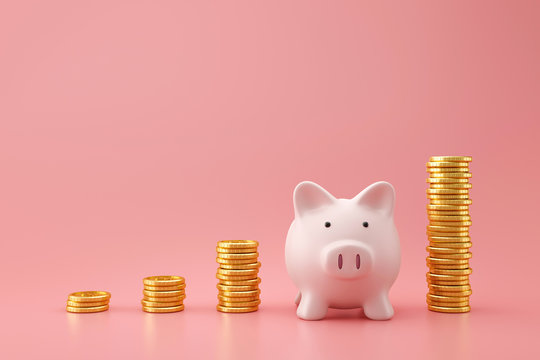 Piggy bank and golden stack coins of growing graph on pink background with saving money concept. Financial planning for the future. 3D rendering.