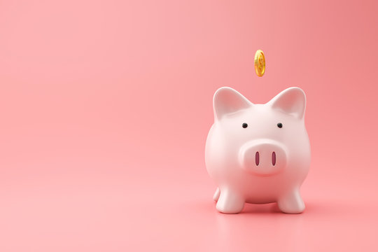 Piggy bank and golden coin on pink background with saving money concept. Financial planning for the future. 3D rendering.