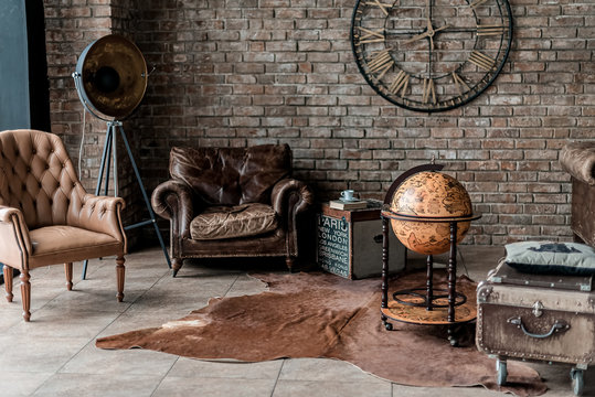 old fashioned interior with antique furniture and decoration