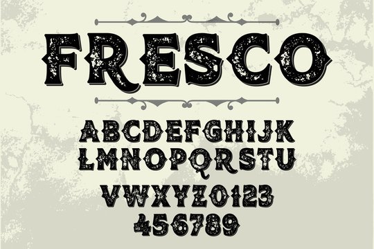 font alphabet, classic lettering, retro typeface white style background
