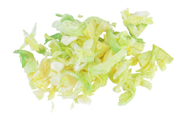 Photo sur cadre textile Bruxelles Green chopped cabbage isolated on white background with clipping path and full depth of field. Top view. Flat lay.
