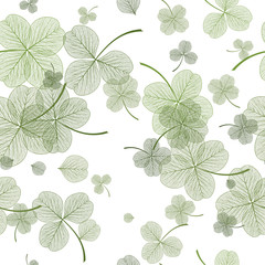 Seamless pattern with green clover leaves. Vector, EPS 10.