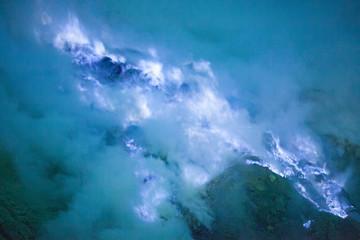 Foto auf Acrylglas Blau Jeans Smoke On Countryside Landscape