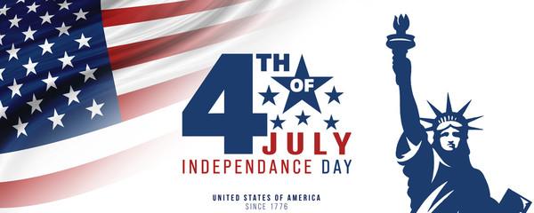 Fototapeta 4th of July, USA celebration of Independence day -  Banner illustration obraz