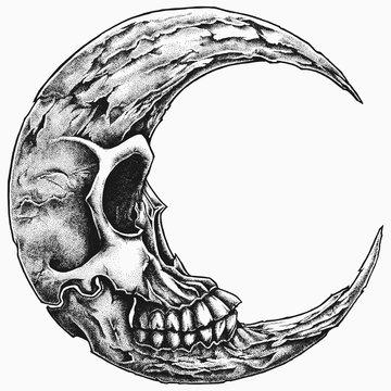 crescent moon skull vector handdrawn stippling style