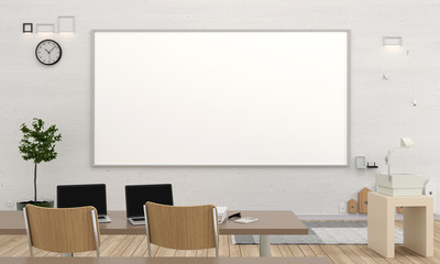 Classroom interior with big whiteboard for mockup, 3D rendering