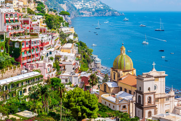 Panoramic view of Positano at Amalfi coast in Southern Italy