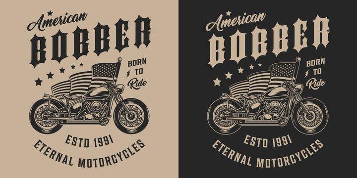 Custom motorbike vintage monochrome emblem