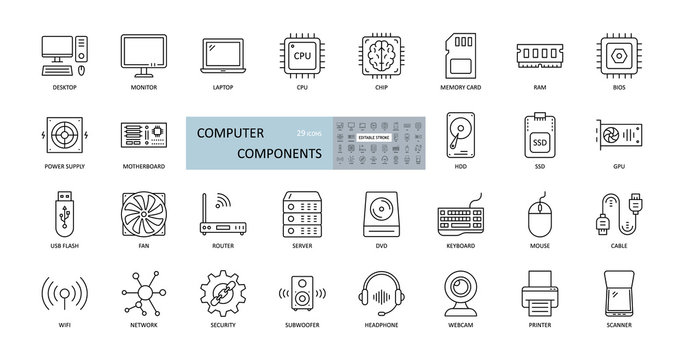 Vector icons of computer components. Editable Stroke. Parts of a PC, such as RAM memory, hdd ssd cpu processor. Keyboard mouse headphone speakers, laptop monitor server. Webcam printer scanner