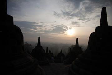 Keuken foto achterwand Indonesië Stupas At Borobudur Temple Against Sky
