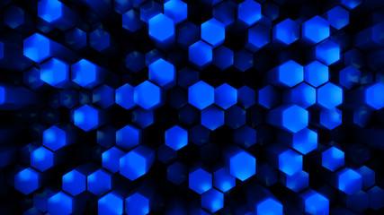 Wall Mural - blue  glossy hexagon modern background, 3d render illustration
