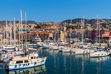Yacht in marina of Genoa, Italy.