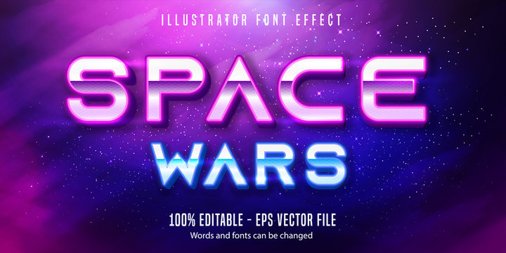Space war text, neon style editable text effect