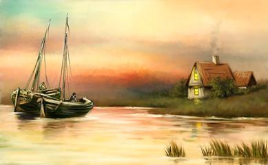 Oil paintings sea landscape, fishermen, sailboat at sunset. Fine art.