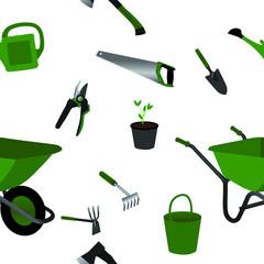 gardening tools objects seamless pattern illustration, flat design