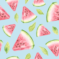 Seamless pattern with watermelon and leaves on a blue background. Slice of watermelon watercolor seamless pattern.