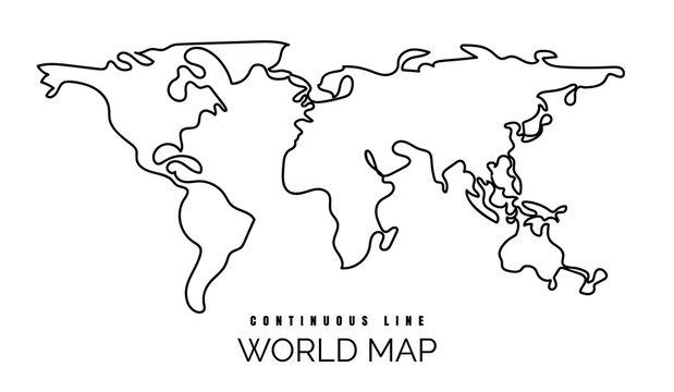 Continuous line world map illustration, one line earth contour